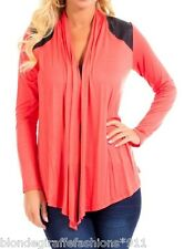 Coral w/ Faux Leather Shoulders & Back Yoke Scarf Drape Cover-Up Cardigan S M L