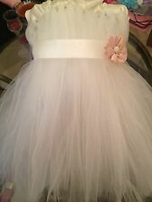 Ivory Flower Girl Tulle Tutu Dress Baby Girls Sizes Newborn to 24 Months