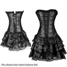 Black Burlesque Costume Corset & Skirt Moulin Rouge Lingerie Fancy Dress Outfit