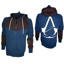 Official Licensed Assassins Creed Unity Logo Blue Brown Gamer Hooded Top