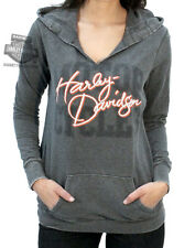 Harley-Davidson Womens Lightweight Split Neck Seam Burnout Charcoal Hoodie