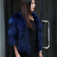 Women's Real Raccoon Fur Jacket Coat