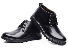 NEW MENS SLIP ON LACE UP LEATHER CASUAL ANKLE DRESS OFFICE BOOTS FLAT SHOES SIZE