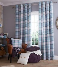 Blue Tartan Curtains OR Cushion Cover FullyLined Catherine Lansfield COTTON RICH