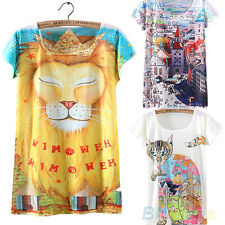 Womens Casual Short Sleeve Animal Graphic Printed T Shirt Tee Blouse Clearance