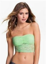NWT $38 Free People Intimately Fluro Lime Cropped Lace Bandeau Bra Top Sz XS M