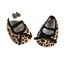 Newborn Infant Leopard Brown Bow Baby Girls Soft Crib Shoes 3-12 Months Gifts