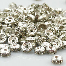 quality Crystal Diamond Spacer beads Silver Plated Rondelle Size: 4/5/6/8/10mm