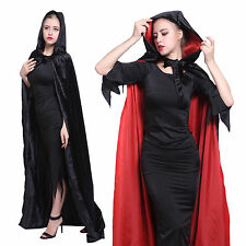 Mens Womens Medieval Cloak Fancy Dress Hooded Cape Robe Party Cosplay Costume