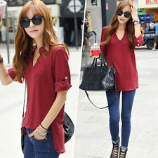 Femme Women Casual Cotton Blouse Office Tee Casual Shirt Top Burgundy Chemisier