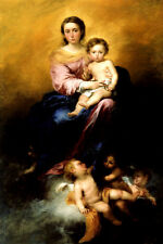 THE MADONNA OF THE ROSARY VIRGIN BABY JESUS ANGELS PAINTING BY MURILLO REPRO