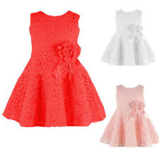 Sweet Cute Girls Full Lace Dress Kids Baby Floral Princess Party Dress