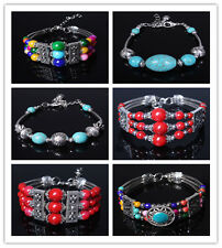 Free shipping Charming Beads Cuff Cool Retro Women fashion Bracelet in 9 styles