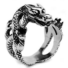 Stainless Steel Magic Strength Power Horoscope Symbol Dragon Men Ring Size 9-16
