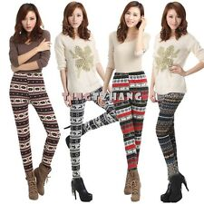 New Colorful Print Lady Warm Tribal Soft Knitted Pencil Style Leggings Pants