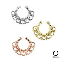 Fake Septum Clicker Clip On Non Piercing Nose Ring Hoop Cartilage Tribal Fan