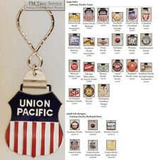 Pacific Lines Railroad fobs, various designs & keychain options