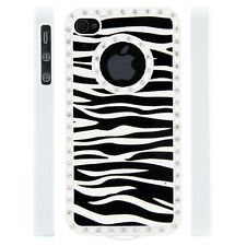 Apple iPhone 5 5S Gem Crystal Rhinestone Zebra Stripe Leather case