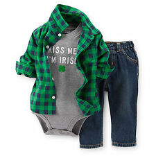 "Carters 3 6 9 12 18 Months ""Kiss Me I'm Irish"" Baby Boy Clothes Patrick's Day"