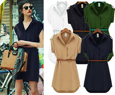 New Womens Lady Short Sleeve Loose Chiffon Shirt Dress With Belt OL Casual Tops