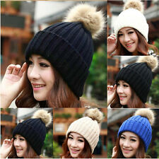 WOMENS SLOUCH KNIT FUR CAP WINTER WARM CUFFED BEANIE CROCHET SKI POM BOBBLE HAT