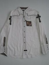 Rectangle Stud White Fender LS Rock Roll Religion SHIRT Button Up MENS Cross New