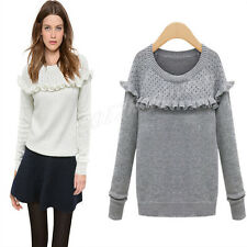 Fashion Women's Weaving Pullover Sweater Flounced Hollow Knitting Tops Blouse