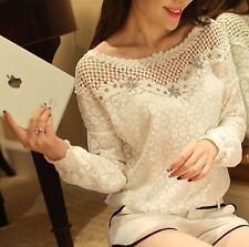Womens Ladies Long Sleeve Embroidery Lace Tops Chiffon Shirt Blouse Size 8-16