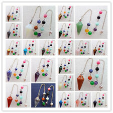 Wholesale Mixed Gemstone Pendulum With Pouch Divination Healing Wicca XJ-515