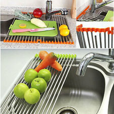 Stainless Roll Kitchen Sink Storage Dish Drainer Fruit Shelves Rack Holder 3454