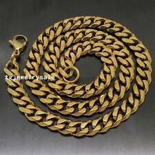 "Mens 8mm Fashion Yellow Gold Curb Link Chain Stainless Steel Necklace 18""-36"""