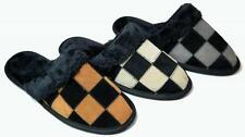 Mens Closed Toe Scuff Slippers Checkered Suede Camel Gray Beige S - XL New