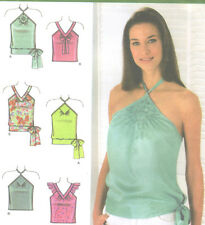 Misses Tops Sewing Pattern Straps Halter Neck Simplicity 4537 Uncut