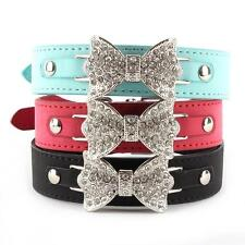 Hot Bling Crystal Dog Collar Bow Leather Pet Adjustable Collar Puppy Cat Choker