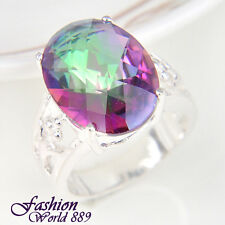 Magic Popular Rainbow Colored Topaz, Moonstone Gemstone Silver Ring Size 7,8,9
