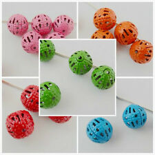 Free Ship 20PCS Plated Mixed 8mm Round Filigree Hollow Spacer Beads For Jewelry