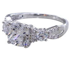 3.7CT White Sapphire Topaz Wedding Engagement 925 Solid Sterling Silver Ring 6-9