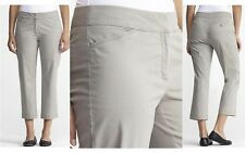 $168 Eileen Fisher Stone Cotton Tencel Twill Straight Cropped Trouser Pants