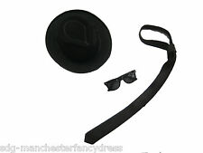 BLACK TRILBY BLUES BROTHERS SUNGLASSES SATIN TIE FANCY DRESS STAG PARTY GANGSTER