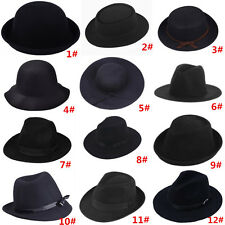 Hippie Unisex Men Black Jazz Wool Trilby Bowler Fedora Panama Hat Gangster Cap