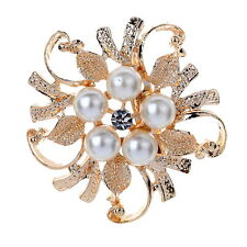 Bouquet  Rhinestone Crystal brooch pin silver pearl brooches women Wedding