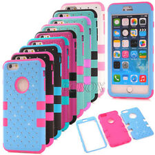 Heavy Duty Bling Diamond Shockproof Hard Matte Cover Case for iPhone 6 6S Plus
