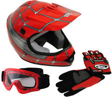 Youth Motocross Dirt Bike Off-Road Red Spider Net Helmet+Goggles+Gloves~S, M, L