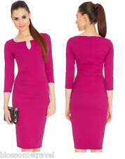 Magenta Keyhole Diamante 3/4 Sleeve Wiggle Pencil Fitted Party Cocktail Dress