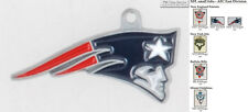NFL team logo fobs (AFC East), pewter-toned, with team & leather strap options