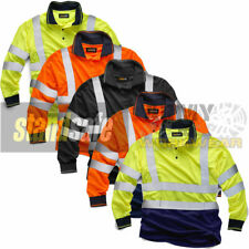 Long Full Sleeve Polo Collar Shirt Hi Viz Mens Reflective Work Safety Top EN471