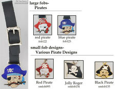 Pirate-themed fobs, various designs & leather strap options