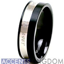 Accents Kingdom 8mm Men's I Love You Forever Titanium Wedding Band Size 8-12