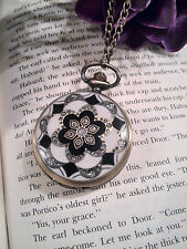 Ladies Inlaid Vintage Style Quartz Pocket Watch with chain, Gift Box Available