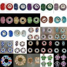 Big Hole Crystal Rhinestone Pave Rondelle Spacer Charm Beads 2pcs